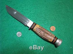 Vtg Sheath Blade Hunt CATTARAUGUS Stag Knife #1 ORIG INDIAN Leather western TOOL