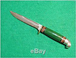 Vtg Sheath Blade Hunt Old Western Green Handle Knife 48 Pattern #1 Org fold case