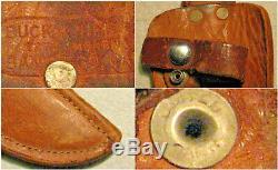 Vtg Sheath Hunt Blade Buck Knife Lignum Vitae Handle & #1 ORIG leather fold case