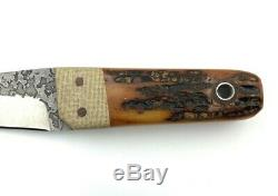WA Surls Knife Stag Handle with Micarta bolsters Fiddleback Forge WAS Knives