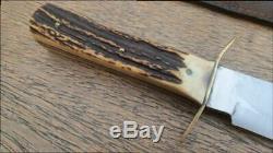 XL Vintage SVOBODA Solingen Germany Bowie Fighting Knife withStag RAZOR SHARP
